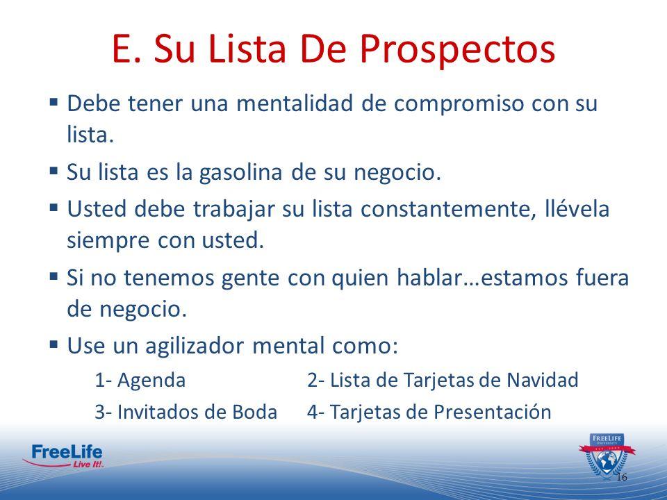 17 E.Su Lista De Prospectos No deje a nadie. No prejuzgue.