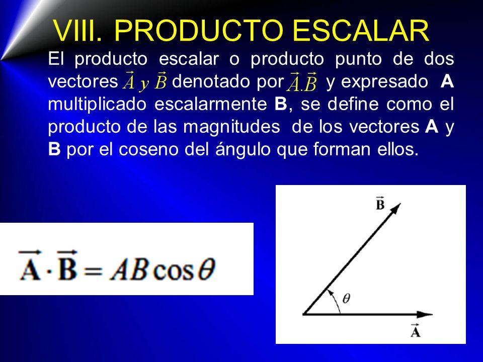 VIII. PRODUCTO ESCALAR El producto escalar o producto punto de dos vectores denotado por y expresado A multiplicado escalarmente B, se define como el