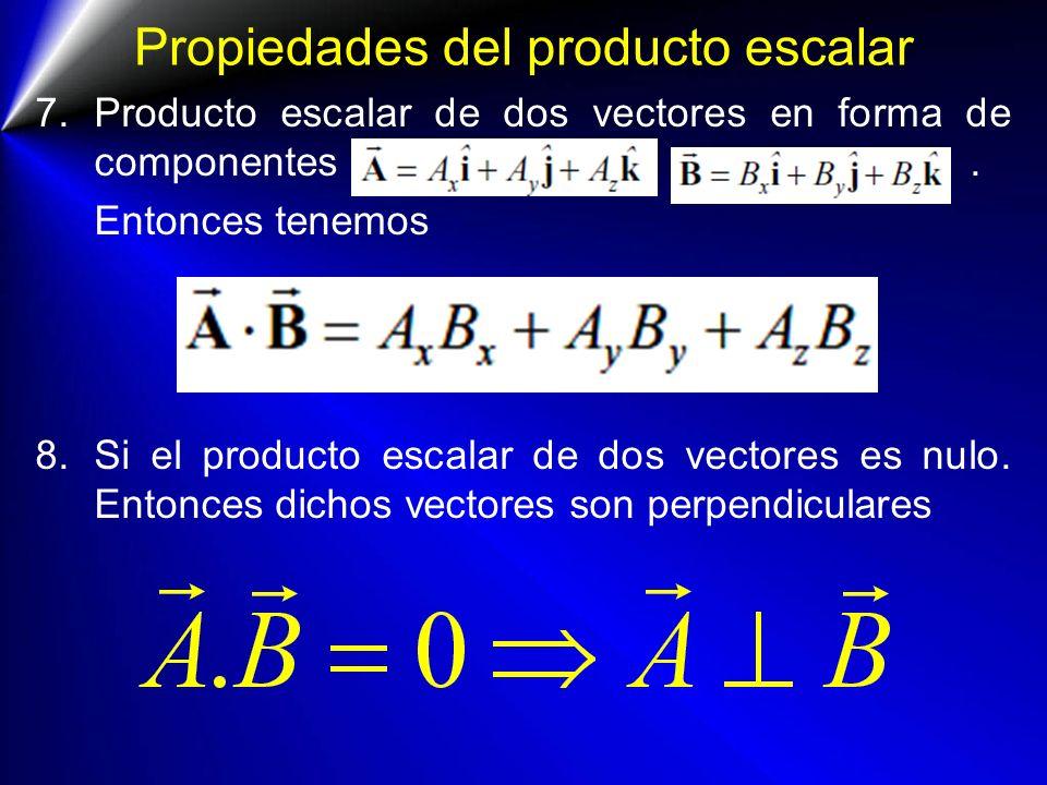 Propiedades del producto escalar 7.Producto escalar de dos vectores en forma de componentes. Entonces tenemos 8.Si el producto escalar de dos vectores