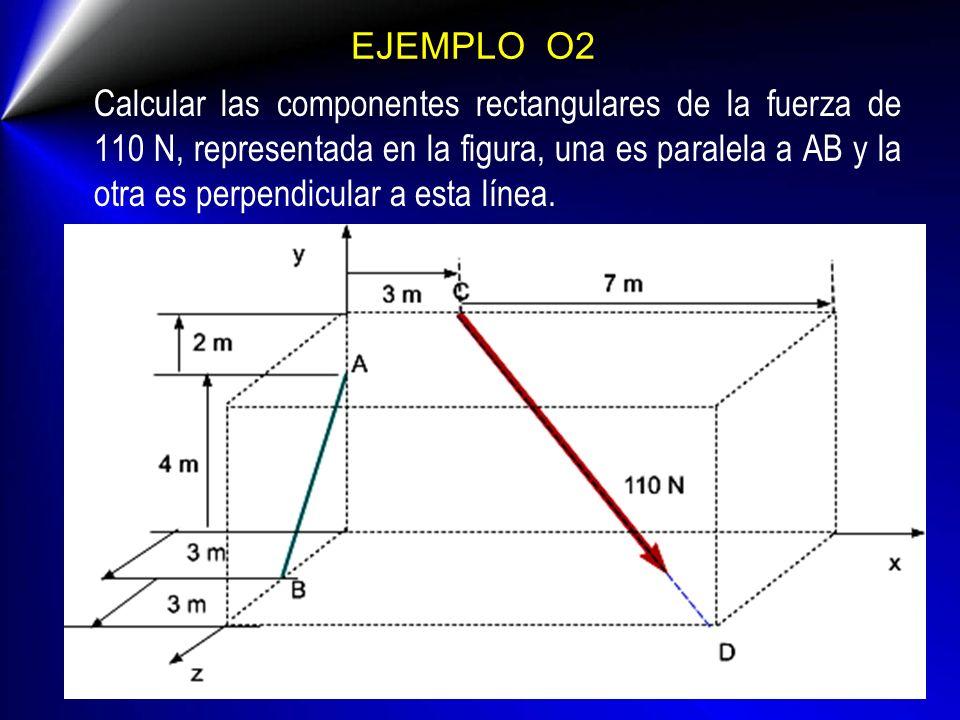 EJEMPLO O2 Calcular las componentes rectangulares de la fuerza de 110 N, representada en la figura, una es paralela a AB y la otra es perpendicular a