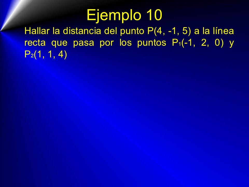 Ejemplo 10 Hallar la distancia del punto P(4, -1, 5) a la línea recta que pasa por los puntos P 1 (-1, 2, 0) y P 2 (1, 1, 4)