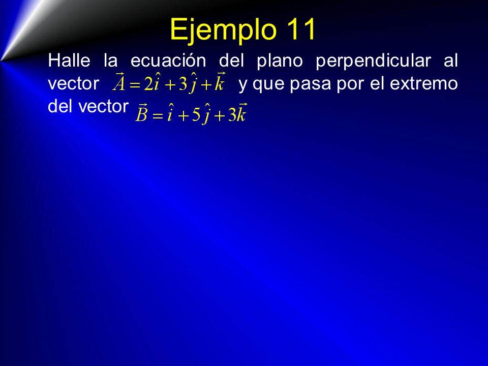Ejemplo 11 Halle la ecuación del plano perpendicular al vector y que pasa por el extremo del vector