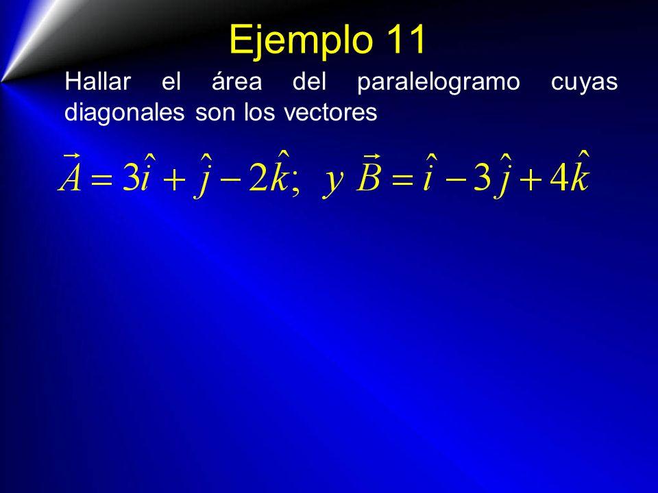 Ejemplo 11 Hallar el área del paralelogramo cuyas diagonales son los vectores