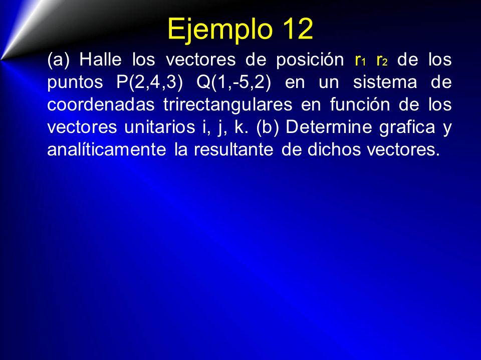 Ejemplo 12 (a) Halle los vectores de posición r 1 r 2 de los puntos P(2,4,3) Q(1,-5,2) en un sistema de coordenadas trirectangulares en función de los