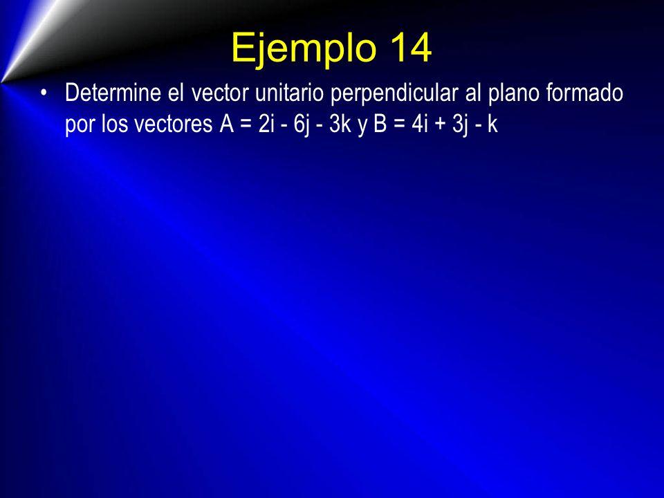 Ejemplo 14 Determine el vector unitario perpendicular al plano formado por los vectores A = 2i - 6j - 3k y B = 4i + 3j - k