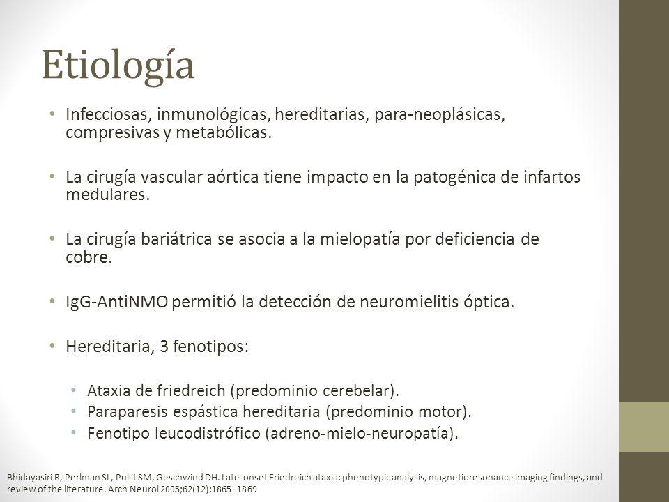 Cuadro clínico Variable de acuerdo al cuadro de fondo: Infarto medular: Dolor intenso de progresión insidiosa a partir del evento isquémico.