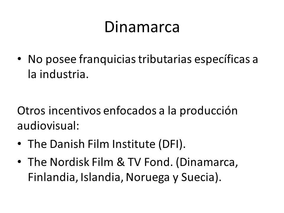 Dinamarca No posee franquicias tributarias específicas a la industria. Otros incentivos enfocados a la producción audiovisual: The Danish Film Institu