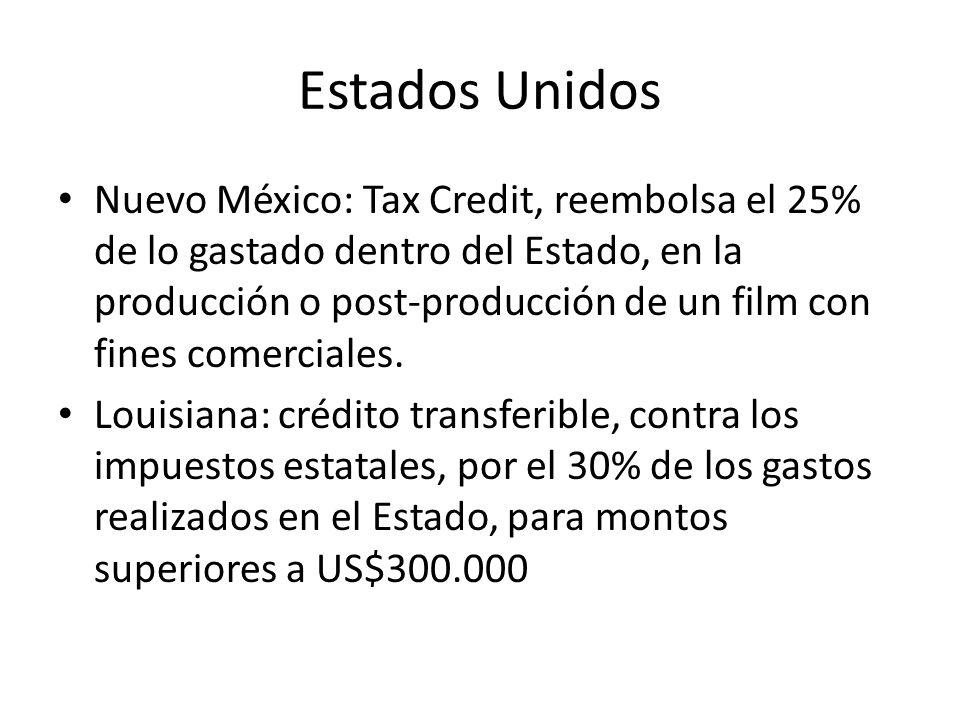 Estados Unidos Nuevo México: Tax Credit, reembolsa el 25% de lo gastado dentro del Estado, en la producción o post-producción de un film con fines comerciales.