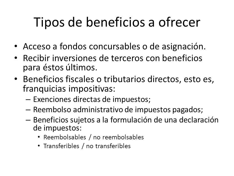 Tipos de beneficios a ofrecer Acceso a fondos concursables o de asignación. Recibir inversiones de terceros con beneficios para éstos últimos. Benefic