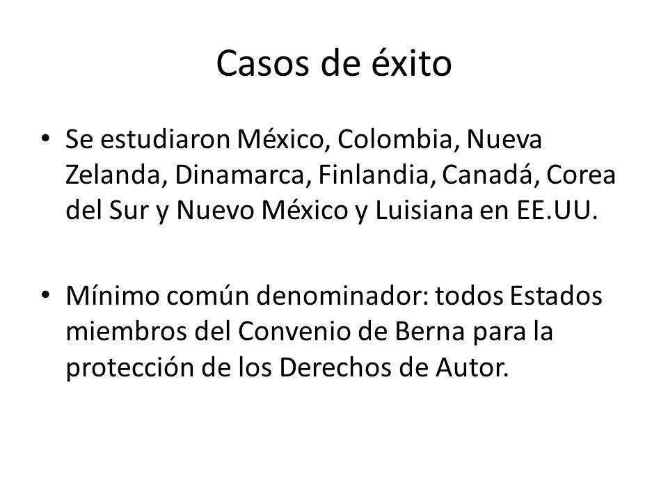 Casos de éxito Se estudiaron México, Colombia, Nueva Zelanda, Dinamarca, Finlandia, Canadá, Corea del Sur y Nuevo México y Luisiana en EE.UU. Mínimo c