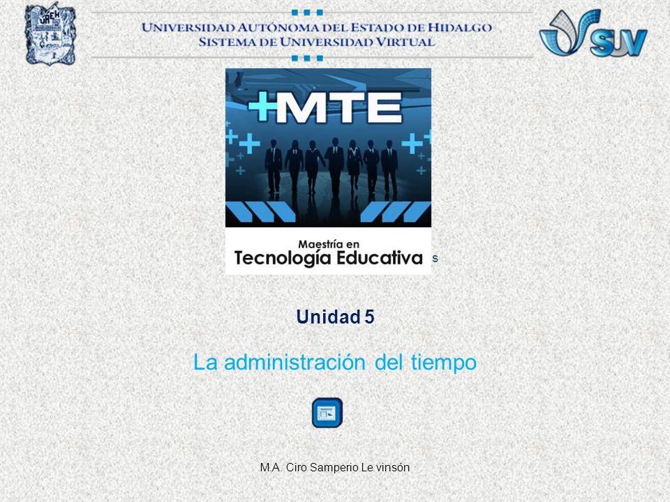 Unidad 5 La administración del tiempo M.A. Ciro Samperio Le vinsón Gestión y Administración a partir de las Nuevas Tecnologías