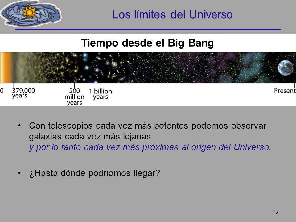 Los límites del Universo Con telescopios cada vez más potentes podemos observar galaxias cada vez más lejanas y por lo tanto cada vez más próximas al