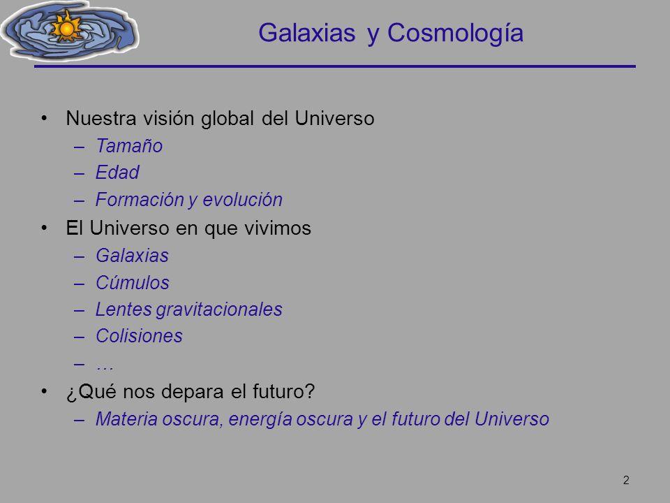 Galaxias y Cosmología Nuestra visión global del Universo –Tamaño –Edad –Formación y evolución El Universo en que vivimos –Galaxias –Cúmulos –Lentes gr