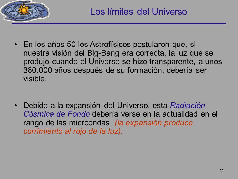 Los límites del Universo En los años 50 los Astrofísicos postularon que, si nuestra visión del Big-Bang era correcta, la luz que se produjo cuando el