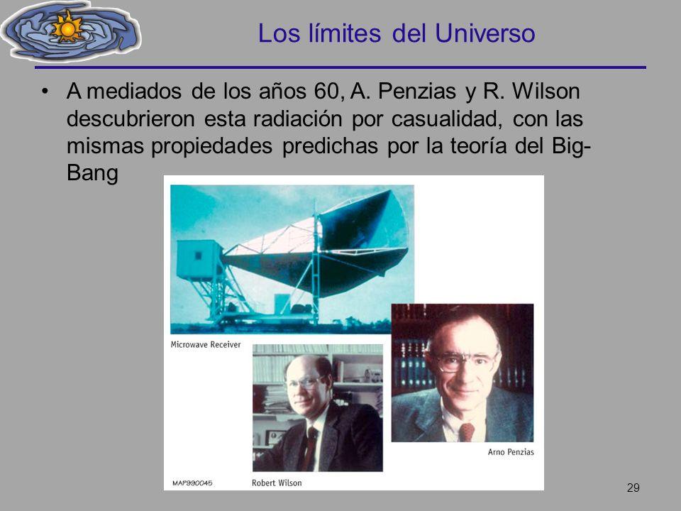 Los límites del Universo A mediados de los años 60, A. Penzias y R. Wilson descubrieron esta radiación por casualidad, con las mismas propiedades pred