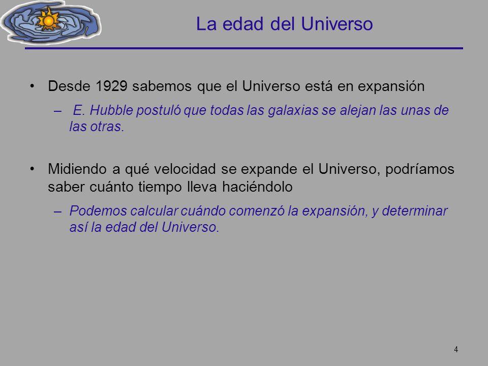 La edad del Universo Desde 1929 sabemos que el Universo está en expansión – E. Hubble postuló que todas las galaxias se alejan las unas de las otras.
