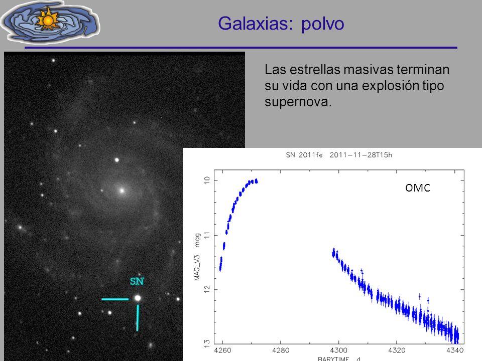 Las estrellas masivas terminan su vida con una explosión tipo supernova. Galaxias: polvo 44 OMC