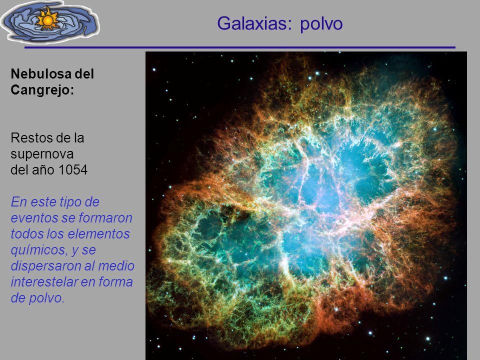 Nebulosa del Cangrejo: Restos de la supernova del año 1054 En este tipo de eventos se formaron todos los elementos químicos, y se dispersaron al medio