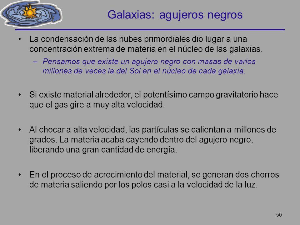 Galaxias: agujeros negros La condensación de las nubes primordiales dio lugar a una concentración extrema de materia en el núcleo de las galaxias. –Pe