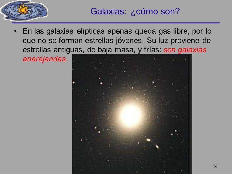 Galaxias: ¿cómo son? En las galaxias elípticas apenas queda gas libre, por lo que no se forman estrellas jóvenes. Su luz proviene de estrellas antigua