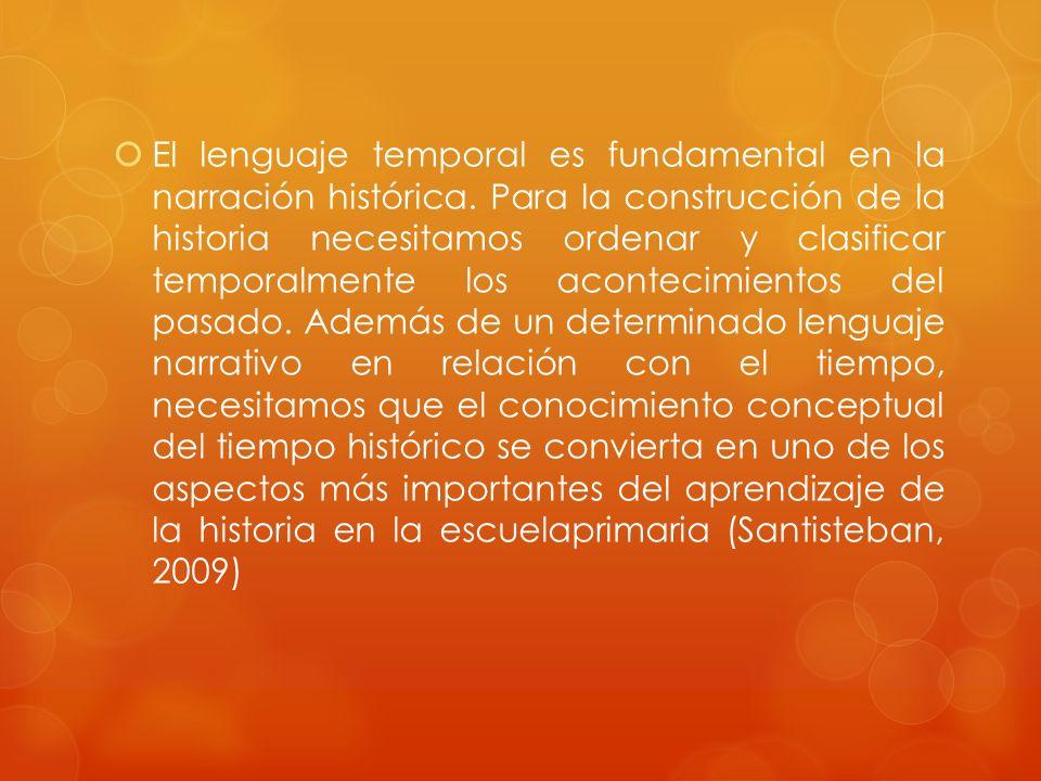 El lenguaje temporal es fundamental en la narración histórica. Para la construcción de la historia necesitamos ordenar y clasificar temporalmente los