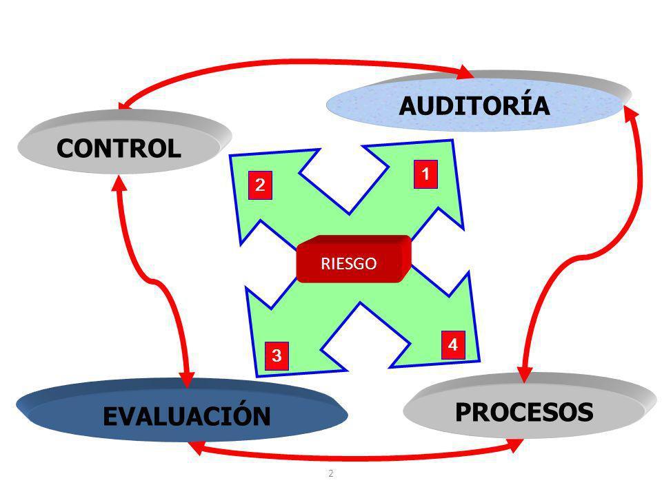 2 EVALUACIÓN PROCESOS AUDITORÍA 2 1 3 4 RIESGO CONTROL