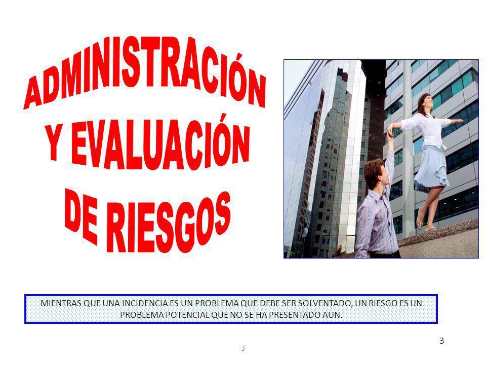 OBJETIVOSECONOMÍA Y EFICIENCIA SALVAGUARDA DE RECURSOS CONFIABILIDAD E INTEGRIDAD CUMPLIMIENTO DE LA NORMATIVIDAD CUMPLIMIENTO DE PLANES (OBJETIVOS Y METAS) RIESGOS1.REPROCESOS 2.RETRASOS 3.DESPERDICIOS 4.DEVOLUCIONE S 5.DUPLICIDADES 1.DESCOMPOSTUR A 2.OBSOLESCENCIA 3.FRAUDE O ROBO 4.DESASTRES O ACCIDENTES 5.DAÑO AMBIENTAL 6.USO NO AUTORIZADO 1.ERRORES 2.OMISIONES 3.DUPLICIDADES 4.RETRASOS O INSUFICIENCIA 5.FRAUDE 6.DESASTRES 7.ACCESO NO AUTORIZADO 8.PÉRDIDA DE DATOS 1.MULTAS RECARGOS 2.PENALIZACIONE S 3.LITIGIOS 4.PÉRDIDA DE LICENCIAS O CONCESIONES 1.INEFICIENCIA 2.PÉRDIDAS DE INGRESOS 3.PÉRDIDA DE MERCADO O COBERTURA EFECTOSPÉRDIDA POR PROCESOS INEFICIENTES O NO ECONÓMICOS PÉRDIDA O DETERIORO DE RECURSOS INFORMACIÓN INEXACTA, NO CONFIABLE O EXTEMPORÁNEA DECISIONES INCORRECTAS (PÉRDIDAS) 1.COSTOS INNECESARIOS 2.CORRUPCIÓN 1.PÉRDIDAS 2.FALTA DE DESARROLLO 3.DESAPARICIÓ N DE LA ORGANIZACIÓ N