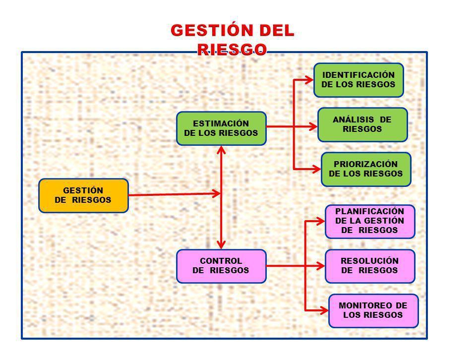 CONTROL DE RIESGOS ANÁLISIS DE RIESGOS PRIORIZACIÓN DE LOS RIESGOS PLANIFICACIÓN DE LA GESTIÓN DE RIESGOS RESOLUCIÓN DE RIESGOS MONITOREO DE LOS RIESGOS IDENTIFICACIÓN DE LOS RIESGOS ESTIMACIÓN DE LOS RIESGOS GESTIÓN DE RIESGOS