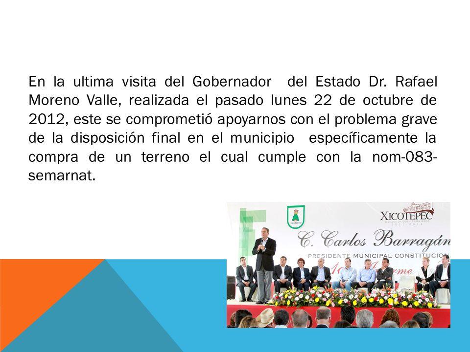 En la ultima visita del Gobernador del Estado Dr. Rafael Moreno Valle, realizada el pasado lunes 22 de octubre de 2012, este se comprometió apoyarnos