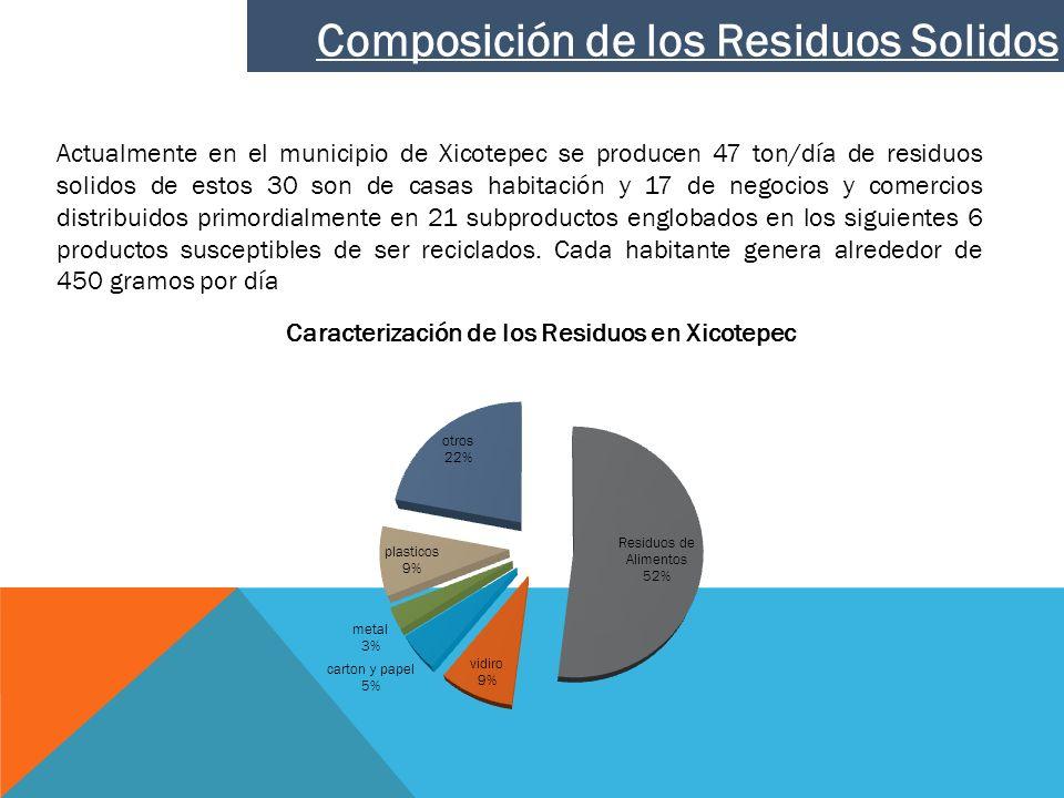 Actualmente en el municipio de Xicotepec se producen 47 ton/día de residuos solidos de estos 30 son de casas habitación y 17 de negocios y comercios d