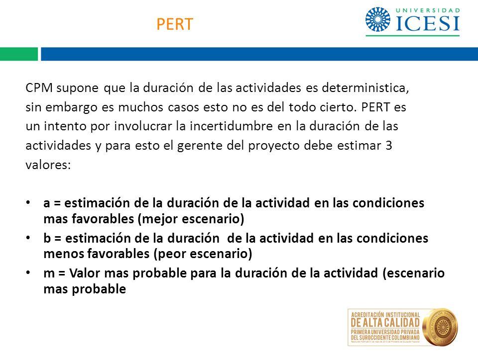 PERT CPM supone que la duración de las actividades es deterministica, sin embargo es muchos casos esto no es del todo cierto. PERT es un intento por i