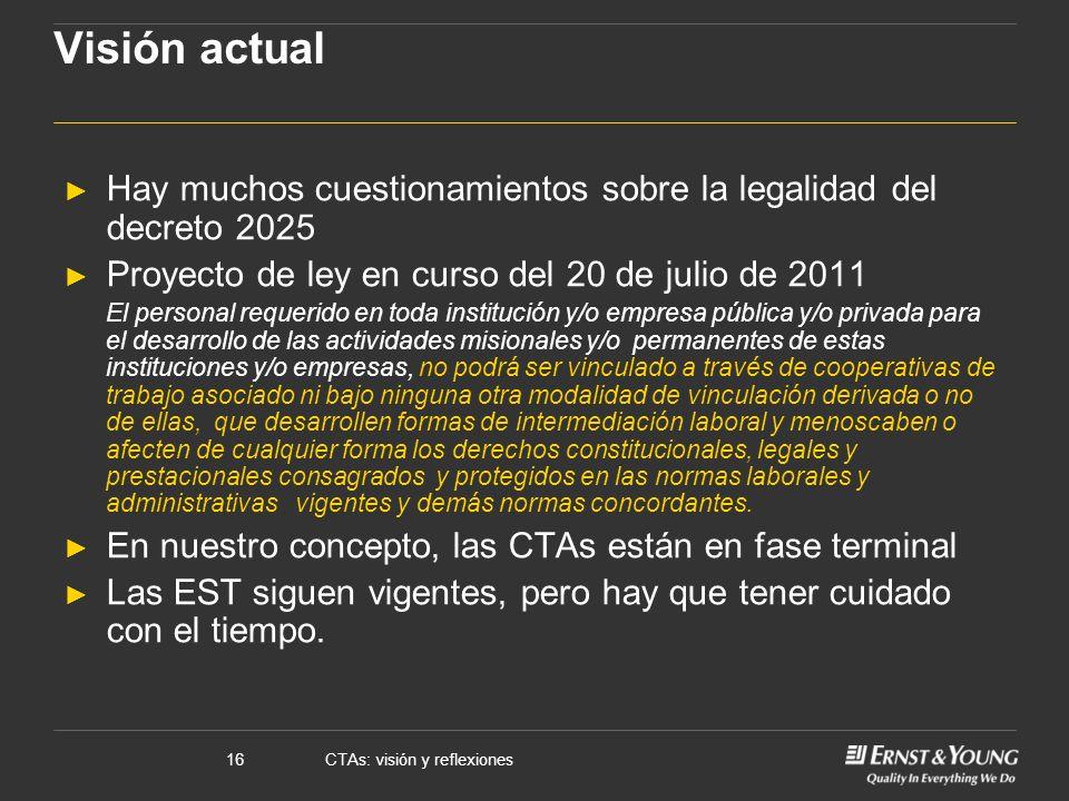 CTAs: visión y reflexiones16 Visión actual Hay muchos cuestionamientos sobre la legalidad del decreto 2025 Proyecto de ley en curso del 20 de julio de
