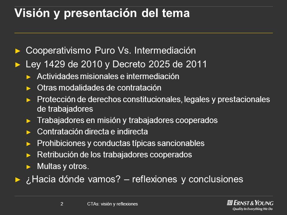 CTAs: visión y reflexiones2 Visión y presentación del tema Cooperativismo Puro Vs. Intermediación Ley 1429 de 2010 y Decreto 2025 de 2011 Actividades