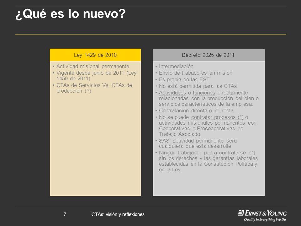 CTAs: visión y reflexiones7 ¿Qué es lo nuevo? Ley 1429 de 2010 Actividad misional permanente Vigente desde junio de 2011 (Ley 1450 de 2011) CTAs de Se