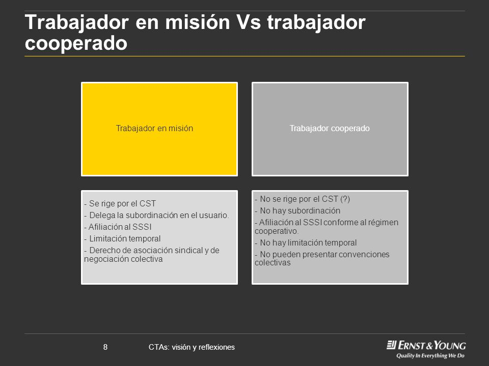 CTAs: visión y reflexiones8 Trabajador en misión Vs trabajador cooperado Trabajador en misiónTrabajador cooperado - Se rige por el CST - Delega la subordinación en el usuario.