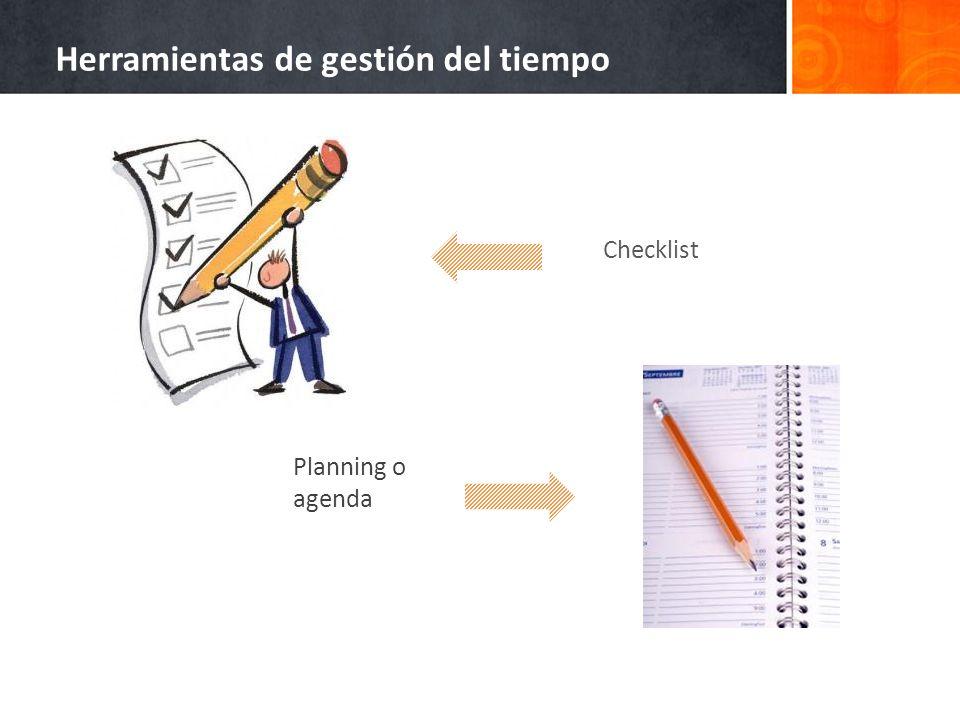 Checklist Planning o agenda Herramientas de gestión del tiempo