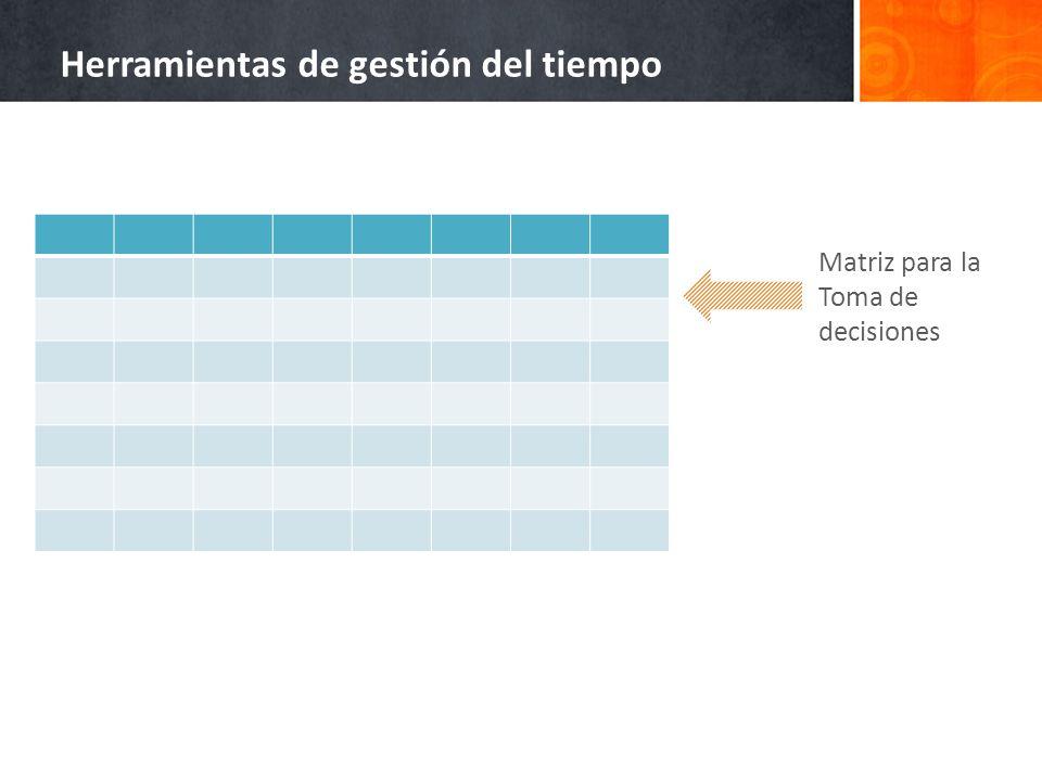 Matriz para la Toma de decisiones Herramientas de gestión del tiempo