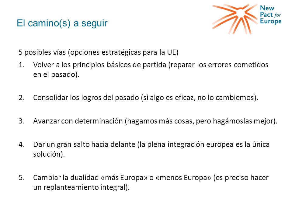 El camino(s) a seguir 5 posibles vías (opciones estratégicas para la UE) 1.Volver a los principios básicos de partida (reparar los errores cometidos en el pasado).