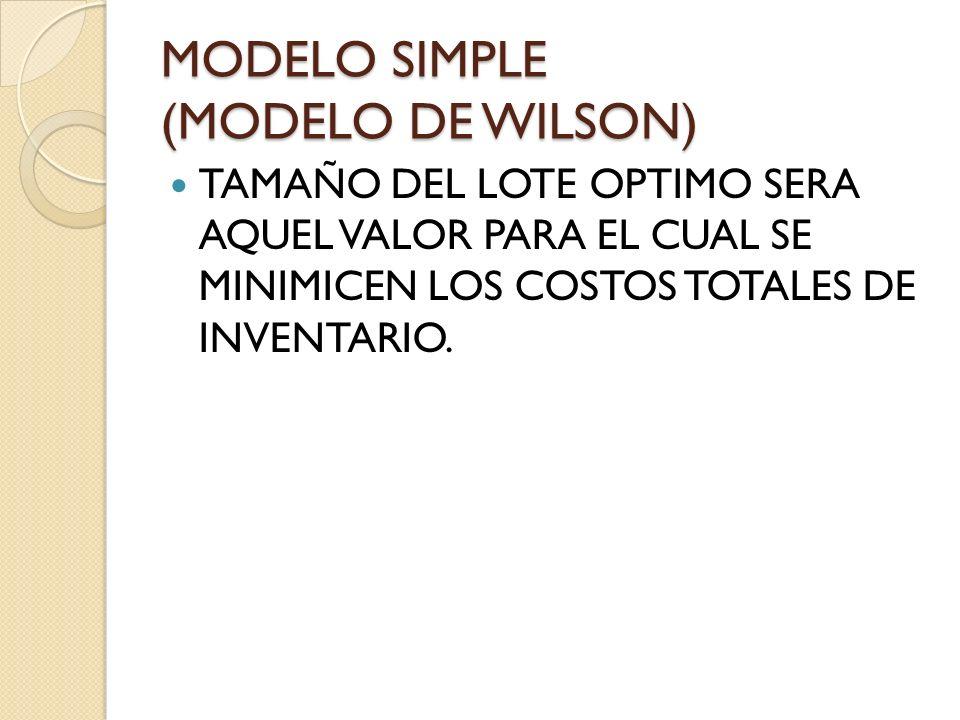 MODELO SIMPLE (MODELO DE WILSON) TAMAÑO DEL LOTE OPTIMO SERA AQUEL VALOR PARA EL CUAL SE MINIMICEN LOS COSTOS TOTALES DE INVENTARIO.