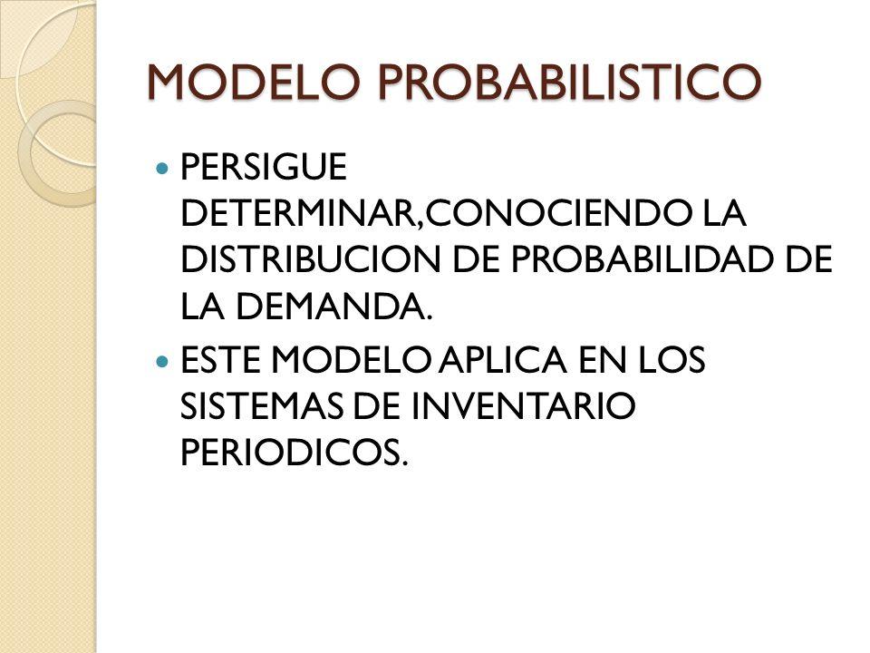 MODELO PROBABILISTICO PERSIGUE DETERMINAR,CONOCIENDO LA DISTRIBUCION DE PROBABILIDAD DE LA DEMANDA.