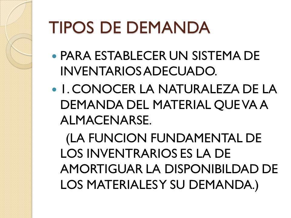 TIPOS DE DEMANDA PARA ESTABLECER UN SISTEMA DE INVENTARIOS ADECUADO.