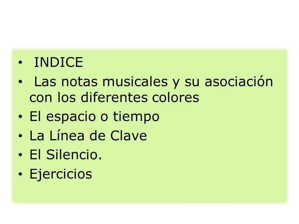 INDICE Las notas musicales y su asociación con los diferentes colores El espacio o tiempo La Línea de Clave El Silencio. Ejercicios