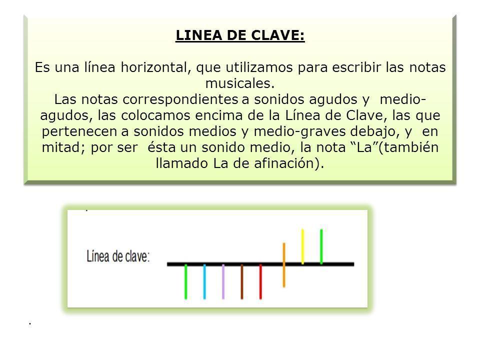 LINEA DE CLAVE: Es una línea horizontal, que utilizamos para escribir las notas musicales. Las notas correspondientes a sonidos agudos y medio- agudos