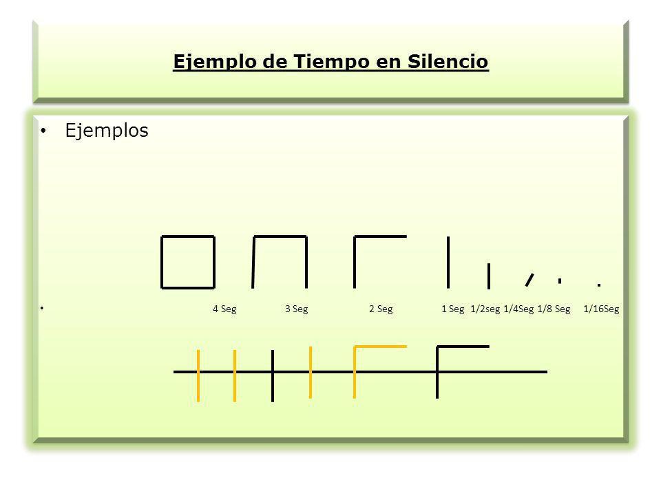 Ejemplo de Tiempo en Silencio Ejemplos 4 Seg 3 Seg 2 Seg 1 Seg 1/2seg 1/4Seg 1/8 Seg 1/16Seg Ejemplos 4 Seg 3 Seg 2 Seg 1 Seg 1/2seg 1/4Seg 1/8 Seg 1/