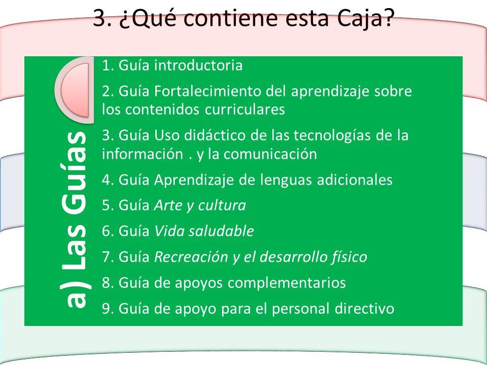 3. ¿Qué contiene esta Caja? a) Las Guías 1. Guía introductoria 2. Guía Fortalecimiento del aprendizaje sobre los contenidos curriculares 3. Guía Uso d