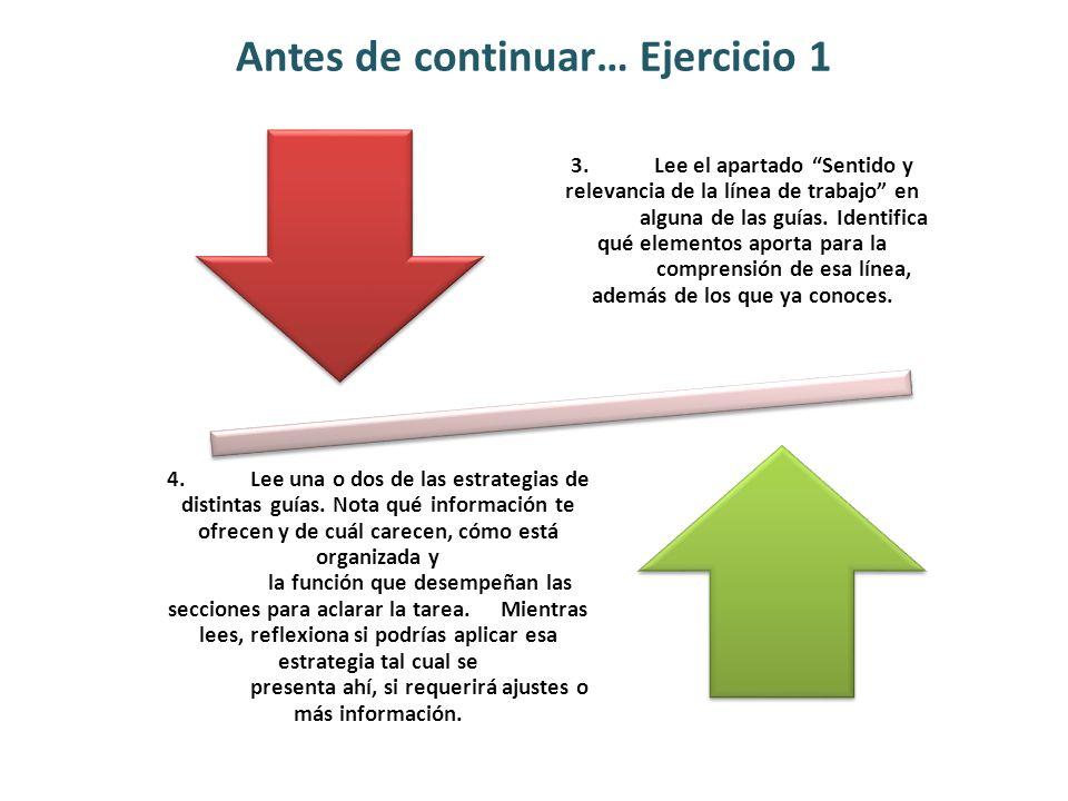 Antes de continuar… Ejercicio 1 3.Lee el apartado Sentido y relevancia de la línea de trabajo en alguna de las guías. Identifica qué elementos aporta