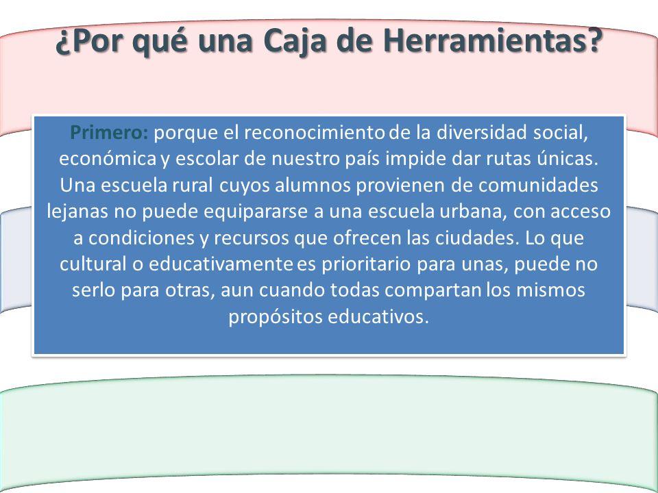 ¿Por qué una Caja de Herramientas? Primero: porque el reconocimiento de la diversidad social, económica y escolar de nuestro país impide dar rutas úni