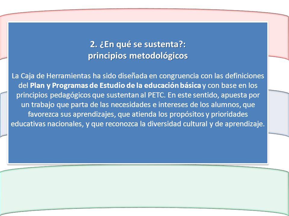 2. ¿En qué se sustenta?: principios metodológicos 2. ¿En qué se sustenta?: principios metodológicos La Caja de Herramientas ha sido diseñada en congru