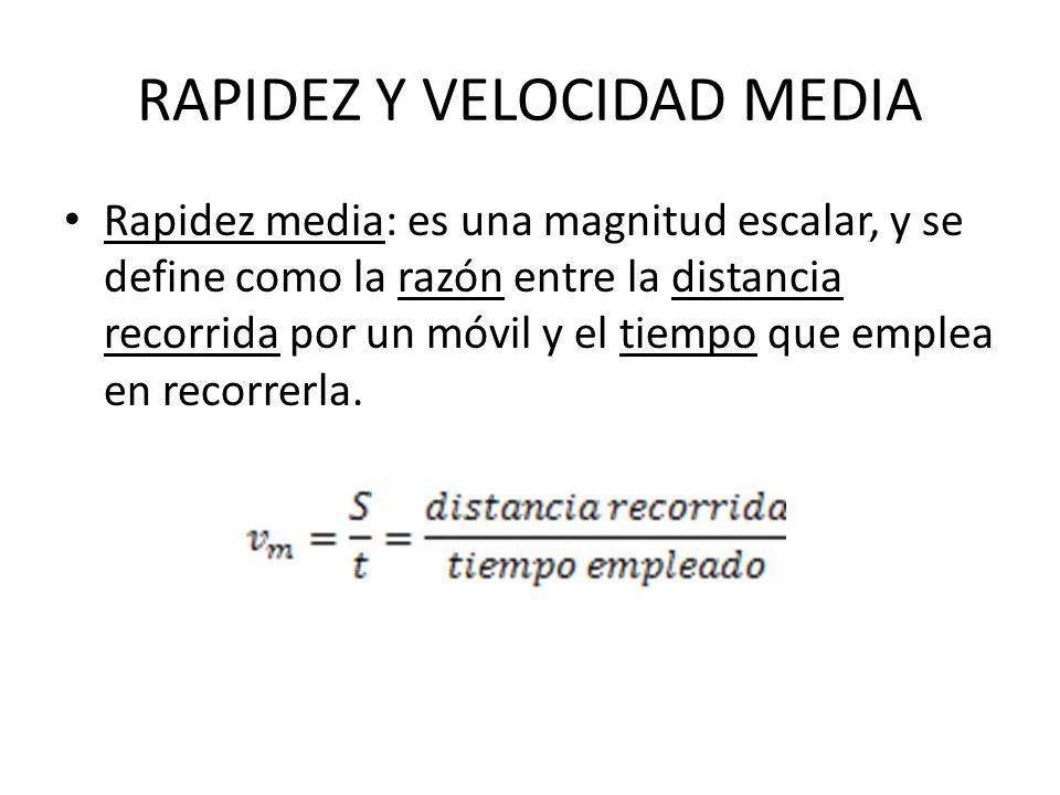 RAPIDEZ Y VELOCIDAD MEDIA Rapidez media: es una magnitud escalar, y se define como la razón entre la distancia recorrida por un móvil y el tiempo que