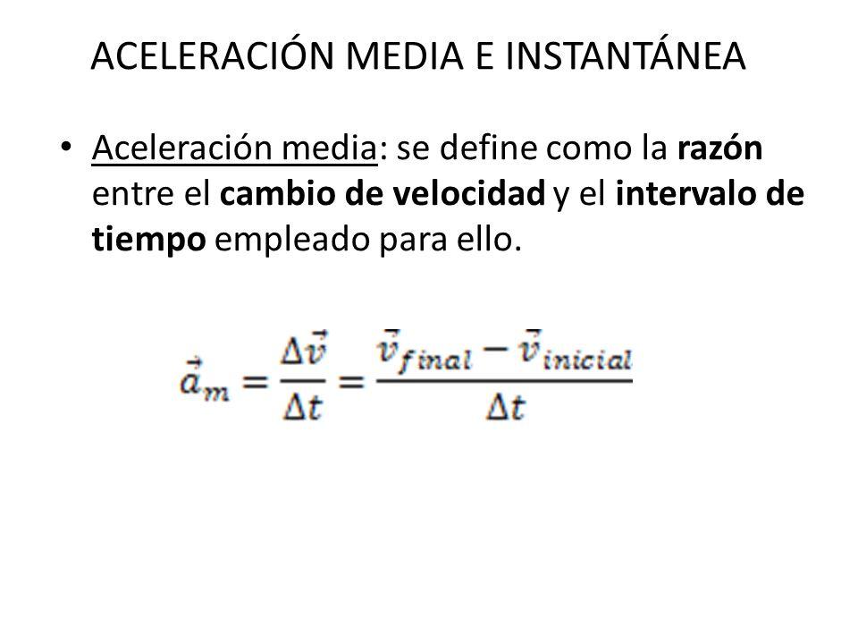 Aceleración media: se define como la razón entre el cambio de velocidad y el intervalo de tiempo empleado para ello. ACELERACIÓN MEDIA E INSTANTÁNEA
